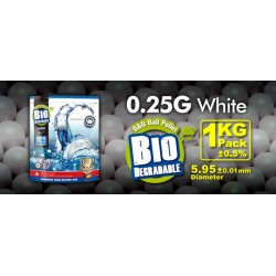Billes airsoft biodégradables 0.25 gramme en sachet de 1 Kg de la marque G&G.