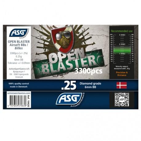 Bille airsoft Open blaster 0.25 gramme en pot de 3300 billes de la marque ASG