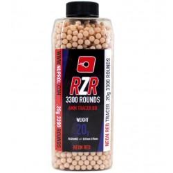 Billes airsoft RZR tracer rouge 0.20 gramme en pot de 3300 billes de la marque Nuprol