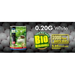 Bille airsoft biodégradable 0.20 gramme en sachet de 2000 billes de la marque G&G