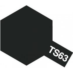 Peinture en spray pour maquette plastique. La couleur est TS63 Noir OTAN mat 100 ml de la marque Tamiya