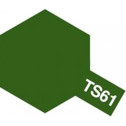 Peinture en spray pour maquette plastique. La couleur est TS61 Vert OTAN mat 100 ml de la marque Tamiya