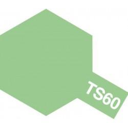 Peinture en spray pour maquette plastique. La couleur est TS60 Vert clair nacré 100 ml de la marque Tamiya