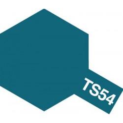 Peinture en spray pour maquette plastique. La couleur est TS54 Bleu clair métal brillant 100 ml de la marque Tamiya (85054)