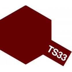 Peinture en spray pour maquette plastique. La couleur est TS33 Rouge mat 100 ml de la marque Tamiya (85033)