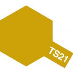 Peinture en spray pour maquette plastique. La couleur est TS21 Doré brillant 100 ml de la marque Tamiya (85021)