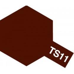 Peinture en spray pour maquette plastique. La couleur est TS11 Marron brillant 100 ml de la marque Tamiya (85011)