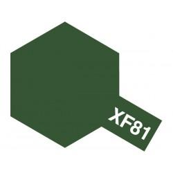 Peinture pour maquette plastique. La couleur est XF81 Dark green RAF mat 10 ml de la marque Tamiya (81781)