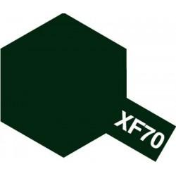 Peinture pour maquette plastique. La couleur est XF70 Vert foncé 2 mat 10 ml de la marque Tamiya (81770)