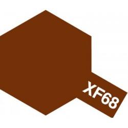 Peinture pour maquette plastique. La couleur est XF68 Brun OTAN mat 10 ml de la marque Tamiya (81768)