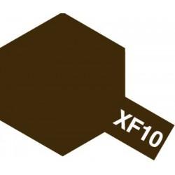 Peinture pour maquette plastique. La couleur est XF10 Brun mat 10 ml de la marque Tamiya (81710)