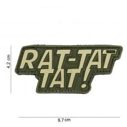 """Patch 3D PVC """"Rat tat tat"""" vert avec velcro, 101 Inc"""