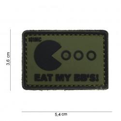 """Patch 3D PVC """"Eat my bb's"""" vert et noir avec velcro, 101 Inc"""