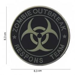 """Patch 3D PVC """"Zombie outbreak respons team"""" vert pale et noir avec velcro, 101 Inc"""