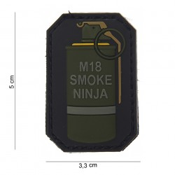 "Patch 3D PVC ""M-18 smoke ninja"" bague jaune avec velcro, 101 Inc"