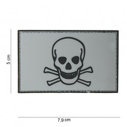 "Patch 3D PVC ""Skull and Bones"" gris avec velcro, 101 Inc"