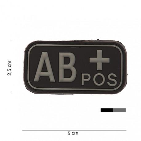 """Patch 3D PVC """"AB +"""" noir avec velcro, 101 Inc"""