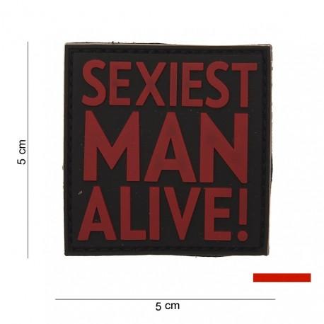 """Patch 3D PVC """"Sexiest man alive"""" rouge avec velcro, 101 Inc"""