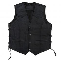 Gilet en cuir noir, 101 Inc