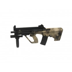 Réplique airsoft Steyr Aug A3 XS commando camouflage tan, électrique non blow back | ASG